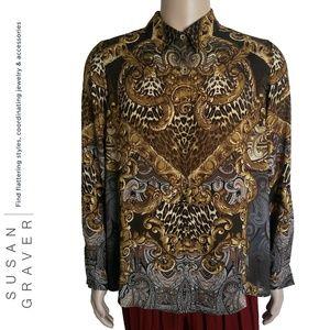 Susan Graver Baroque All Over Print Blouse SZ 16